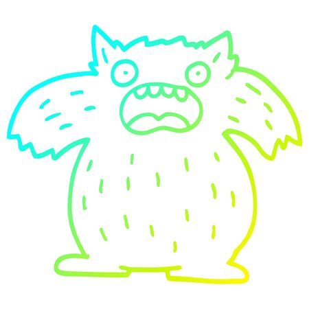 cold gradient line drawing of a cartoon yeti monster