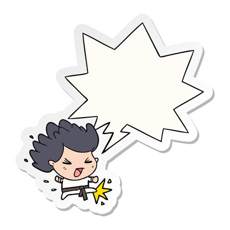 cute cartoon kicking karate champion with speech bubble sticker