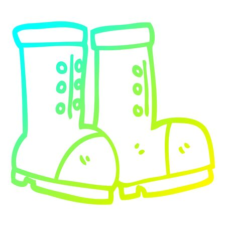 cold gradient line drawing of a cartoon work boots