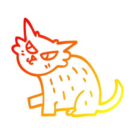 warm gradient line drawing of a cartoon sly cat