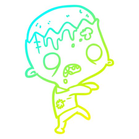 cold gradient line drawing of a cute cartoon zombie Foto de archivo - 129320829