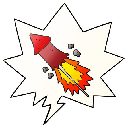 cartoon firework with speech bubble in smooth gradient style