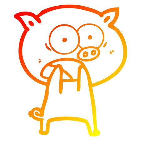 warm gradient line drawing of a cartoon pig shouting Фото со стока - 129320918
