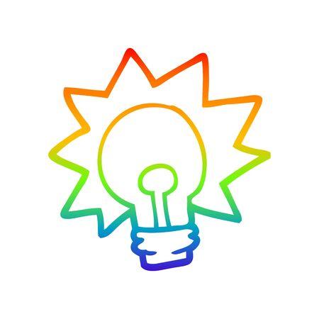 rainbow gradient line drawing of a cartoon shining light bulb