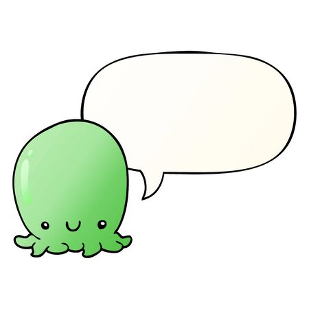 cute cartoon octopus with speech bubble in smooth gradient style