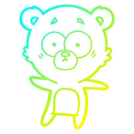cold gradient line drawing of a anxious bear cartoon Фото со стока - 129320451
