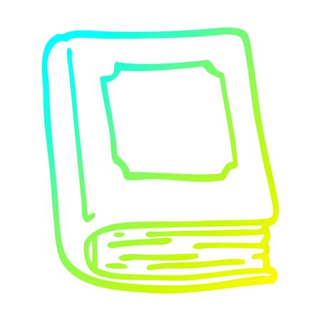 cold gradient line drawing of a cartoon closed book Çizim