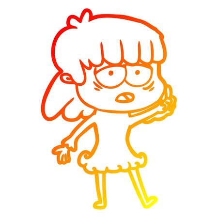 warm gradient line drawing of a cartoon tired woman