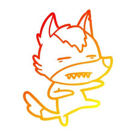 warm gradient line drawing of a cartoon wolf kicking
