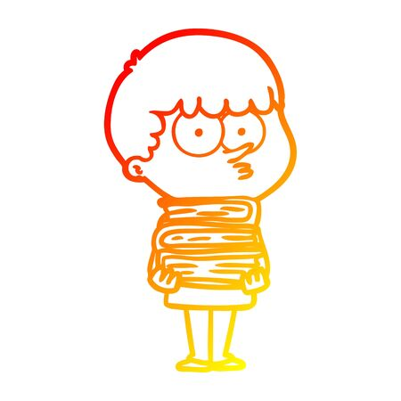 warm gradient line drawing of a cartoon curious boy with lots of books