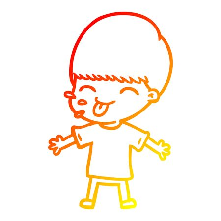warm gradient line drawing of a cartoon boy sticking out tongue