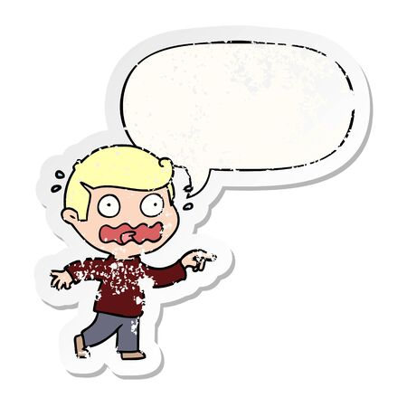 cartoon stressed out pointing with speech bubble distressed distressed old sticker