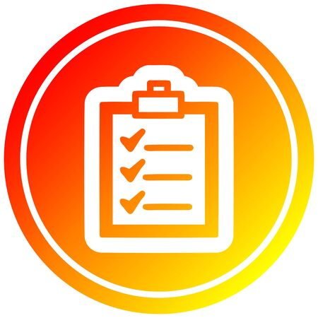 check list circular icon with warm gradient finish Иллюстрация