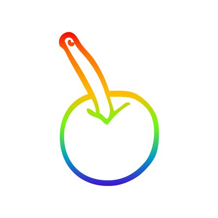 rainbow gradient line drawing of a cartoon cherry