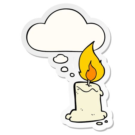 cartoon candle with thought bubble as a printed sticker