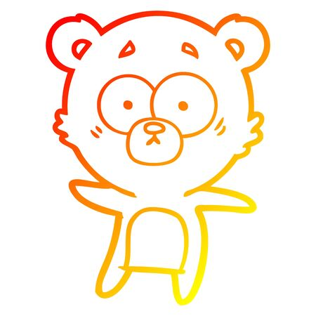 warm gradient line drawing of a anxious bear cartoon