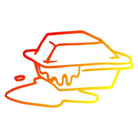 warm gradient line drawing of a cartoon food take out 向量圖像
