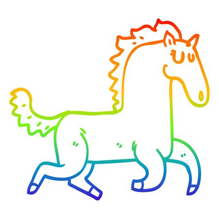 rainbow gradient line drawing of a cartoon magnificent stallion 向量圖像