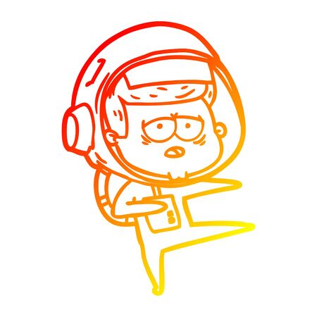 warm gradient line drawing of a cartoon tired astronaut Ilustrace