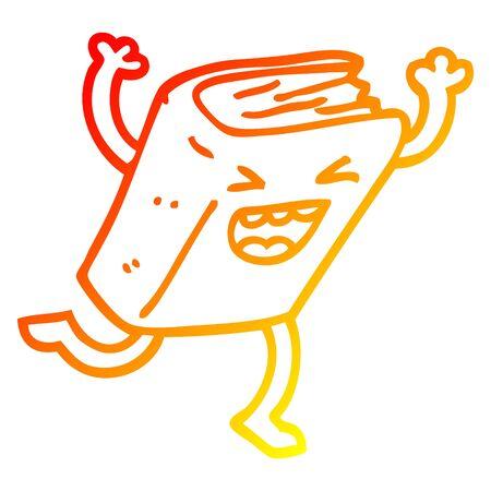 warm gradient line drawing of a cartoon dancing book