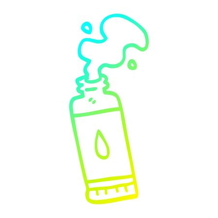 cold gradient line drawing of a cartoon squeezed lotion tube