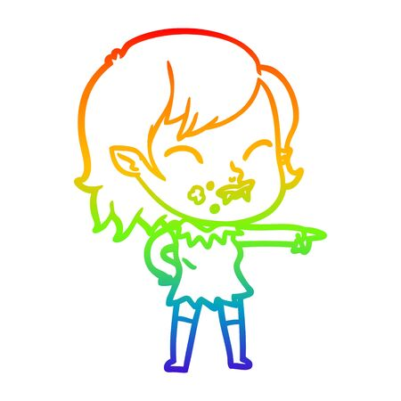 rainbow gradient line drawing of a cartoon vampire girl with blood on cheek Illusztráció