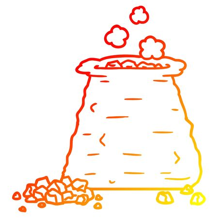 warm gradient line drawing of a cartoon sack of coal