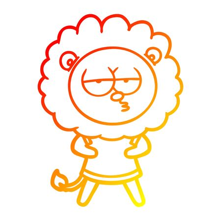 warm gradient line drawing of a cartoon bored lion