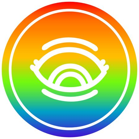 staring eye circular icon with rainbow gradient finish