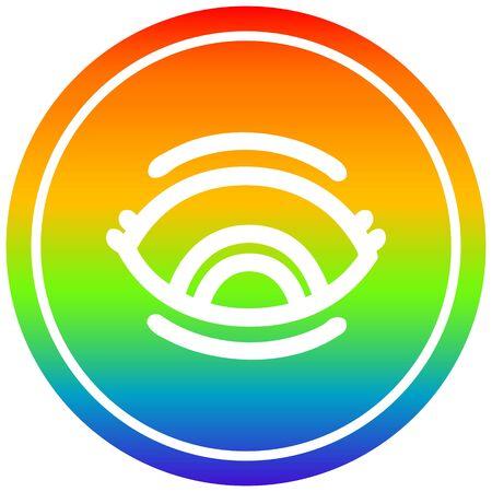staring eye circular icon with rainbow gradient finish