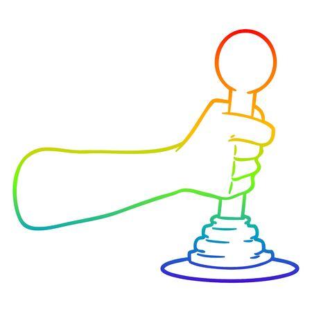Regenbogen-Gradienten-Linienzeichnung einer Cartoon-Hand, die den Hebel zieht Vektorgrafik