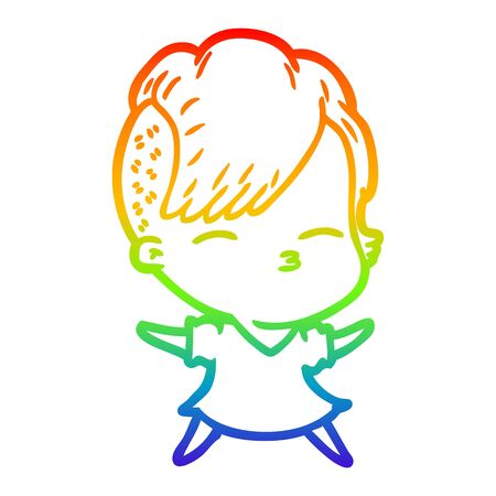 rainbow gradient line drawing of a cartoon squinting girl Stock Illustratie