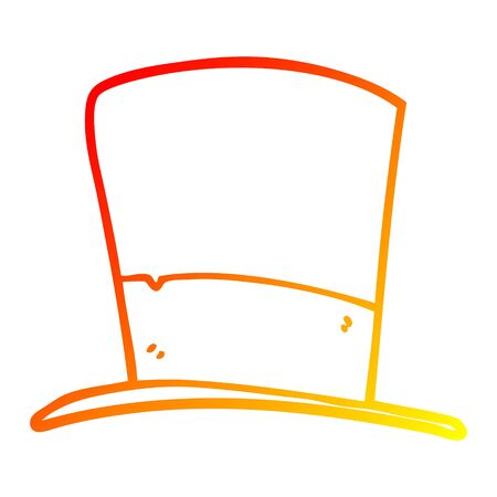 warm gradient line drawing of a cartoon top hat