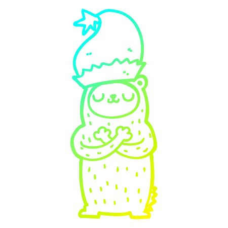 cold gradient line drawing of a cartoon bear wearing christmas hat