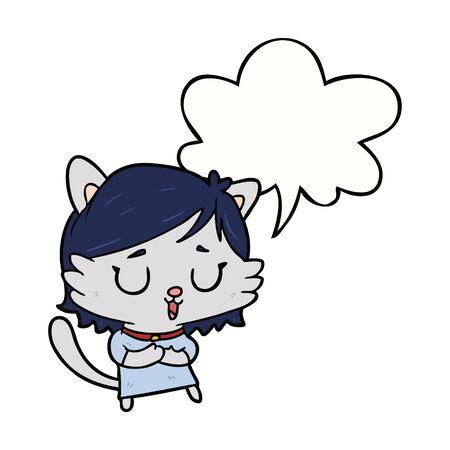 cartoon cat girl with speech bubble Illustration