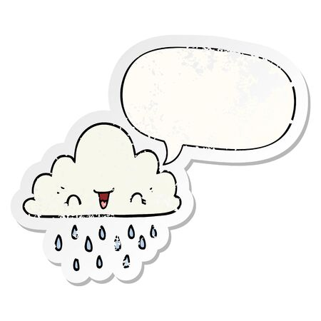cartoon storm cloud with speech bubble distressed distressed old sticker Иллюстрация