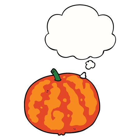 cartoon melon with thought bubble