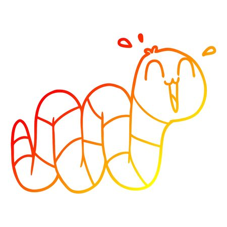 warm gradient line drawing of a cartoon nervous worm