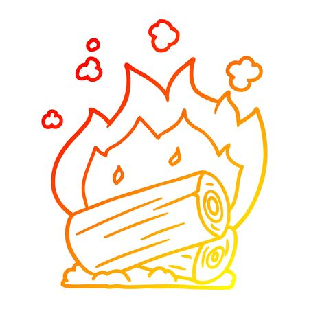 warm gradient line drawing of a cartoon campfire