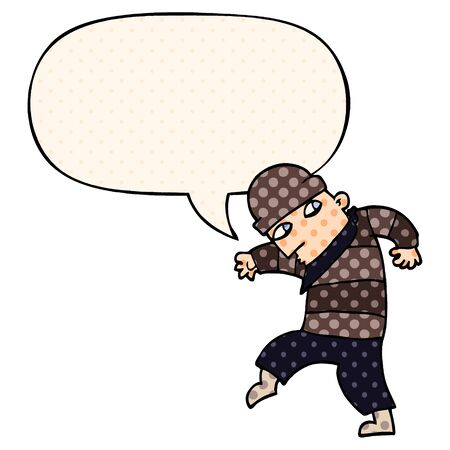 cartoon sneaking thief with speech bubble in comic book style