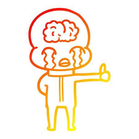 warm gradient line drawing of a cartoon big brain alien crying but giving thumbs up symbol Ilustração