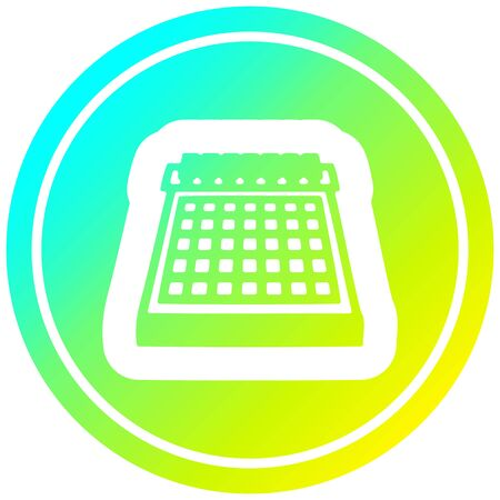 monthly calendar circular icon with cool gradient finish Stock Illustratie