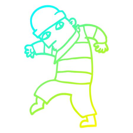 cold gradient line drawing of a cartoon sneaking thief Ilustracja