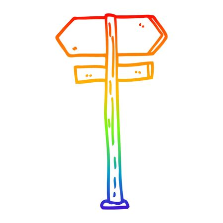 rainbow gradient line drawing of a cartoon direction sign 스톡 콘텐츠 - 129354699