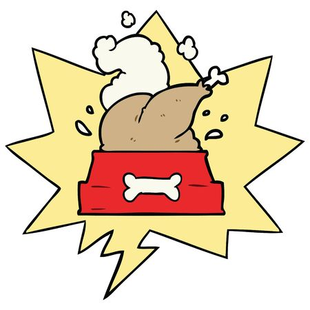 cartoon whole cooked turkey crammed into a dog bowl for a happy christmas pup with speech bubble Stock Illustratie