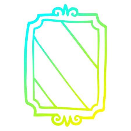 cold gradient line drawing of a cartoon mirror Standard-Bild - 129354721