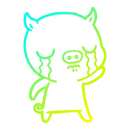 cold gradient line drawing of a cartoon pig crying waving goodbye