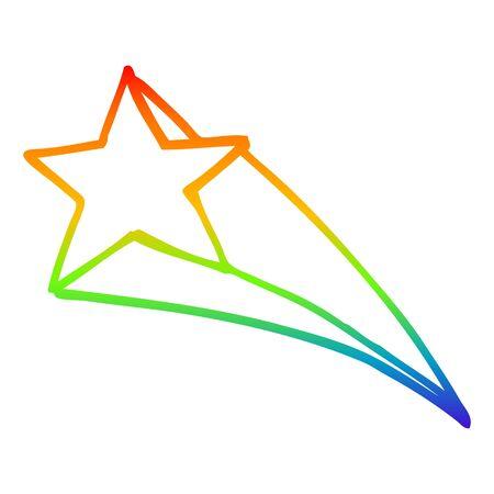 rainbow gradient line drawing of a cartoon shooting star Ilustração