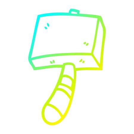 cold gradient line drawing of a cartoon hammer Ilustração