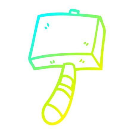 cold gradient line drawing of a cartoon hammer Illustration